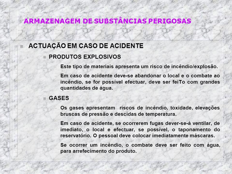 n ACTUAÇÃO EM CASO DE ACIDENTE n PRODUTOS EXPLOSIVOS – Este tipo de materiais apresenta um risco de incêndio/explosão. – Em caso de acidente deve-se a