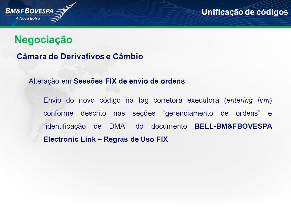 Negociação Unificação de códigos Alteração em Sessões FIX de envio de ordens Envio do novo código na tag corretora executora (entering firm) conforme