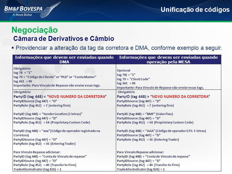 Negociação Unificação de códigos  Providenciar a alteração da tag da corretora e DMA, conforme exemplo a seguir.