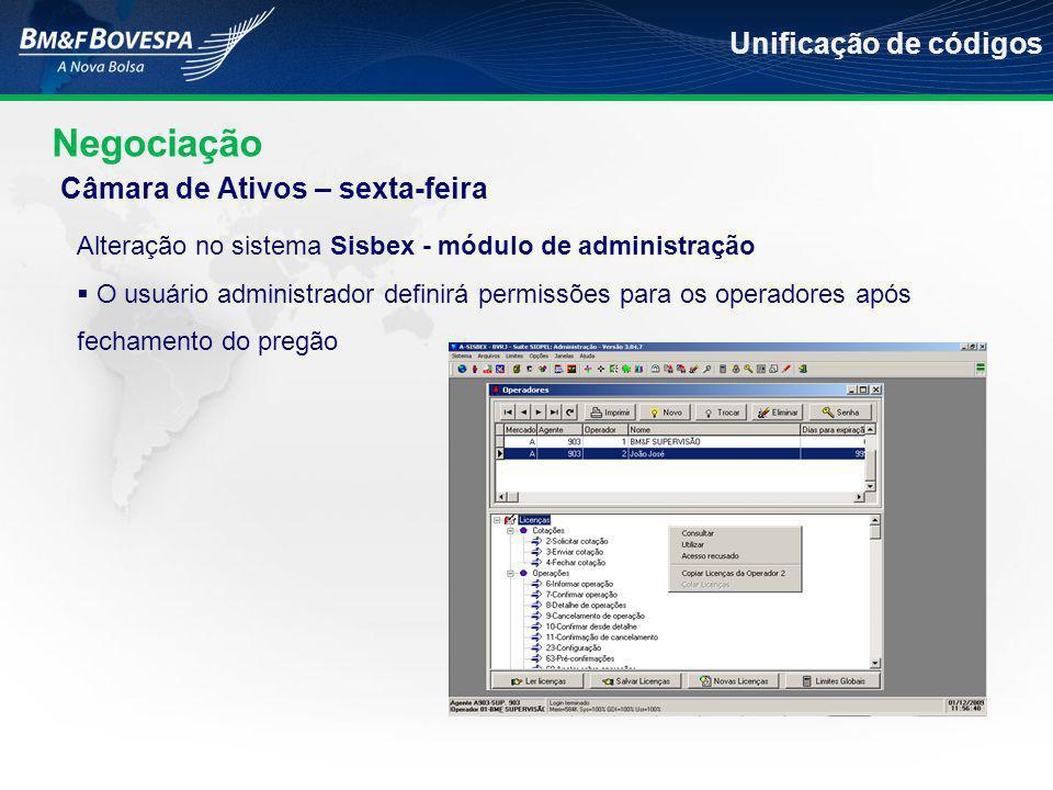 Negociação Unificação de códigos Alteração no sistema Sisbex - módulo de administração  O usuário administrador definirá permissões para os operadore