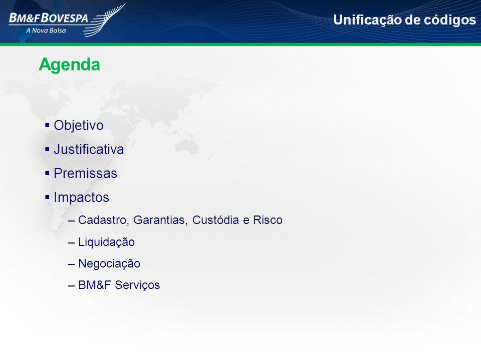  Objetivo  Justificativa  Premissas  Impactos – Cadastro, Garantias, Custódia e Risco – Liquidação – Negociação – BM&F Serviços Agenda Unificação