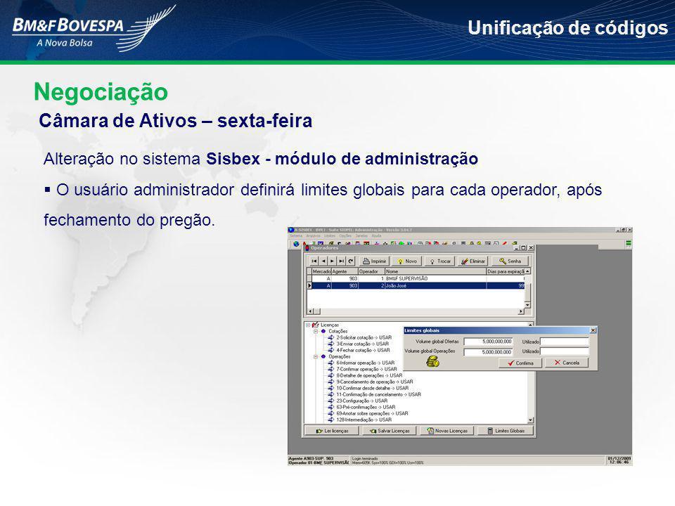 Negociação Unificação de códigos Alteração no sistema Sisbex - módulo de administração  O usuário administrador definirá limites globais para cada operador, após fechamento do pregão.