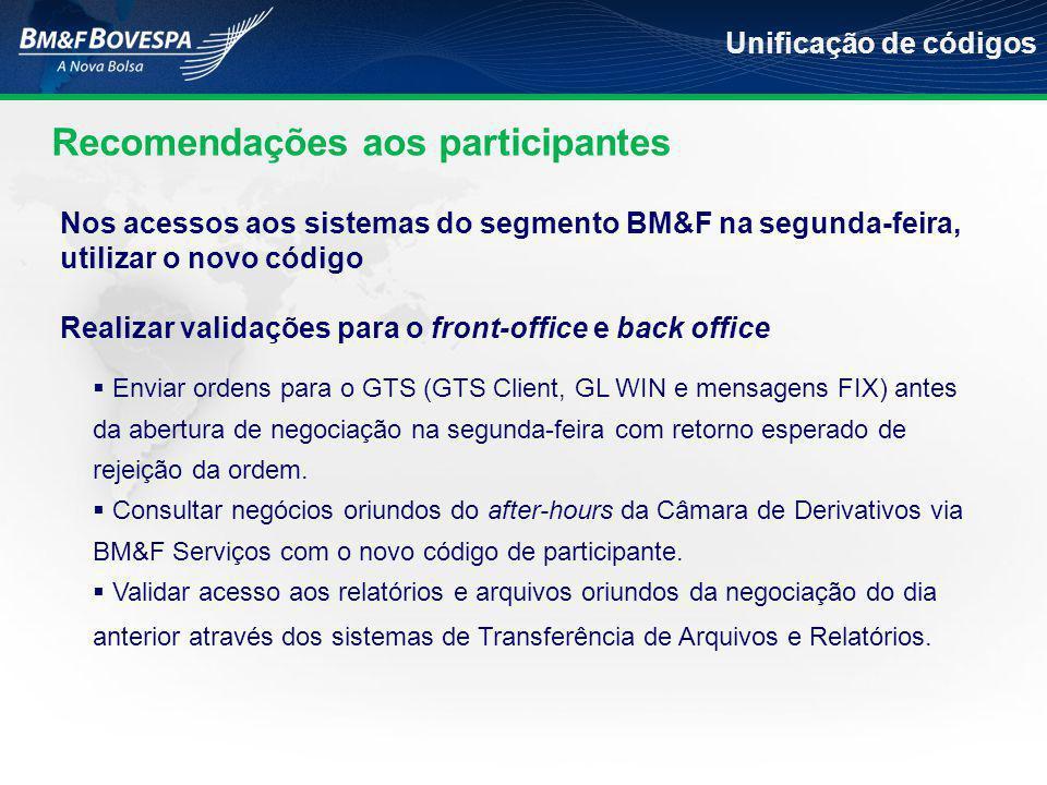 Recomendações aos participantes Unificação de códigos  Enviar ordens para o GTS (GTS Client, GL WIN e mensagens FIX) antes da abertura de negociação na segunda-feira com retorno esperado de rejeição da ordem.