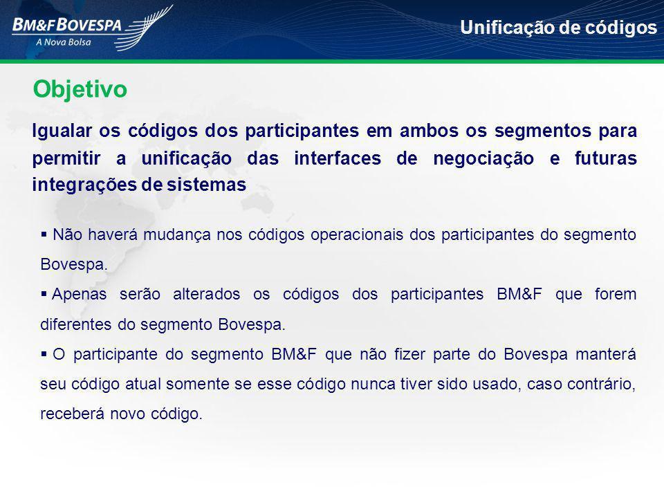 Igualar os códigos dos participantes em ambos os segmentos para permitir a unificação das interfaces de negociação e futuras integrações de sistemas  Não haverá mudança nos códigos operacionais dos participantes do segmento Bovespa.