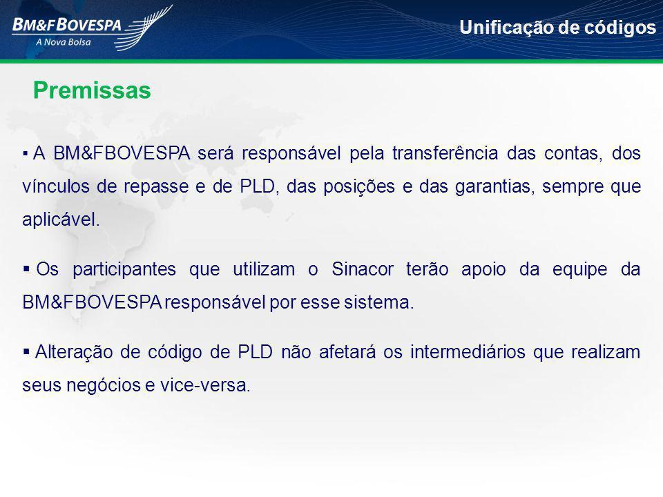 ▪ A BM&FBOVESPA será responsável pela transferência das contas, dos vínculos de repasse e de PLD, das posições e das garantias, sempre que aplicável.