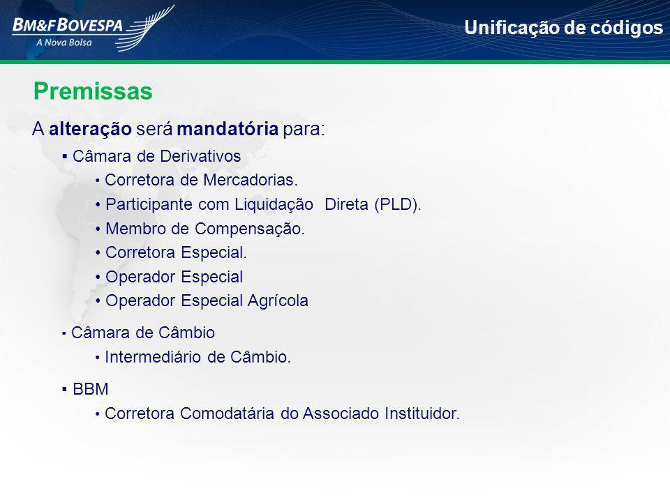 A alteração será mandatória para:  Câmara de Derivativos • Corretora de Mercadorias.