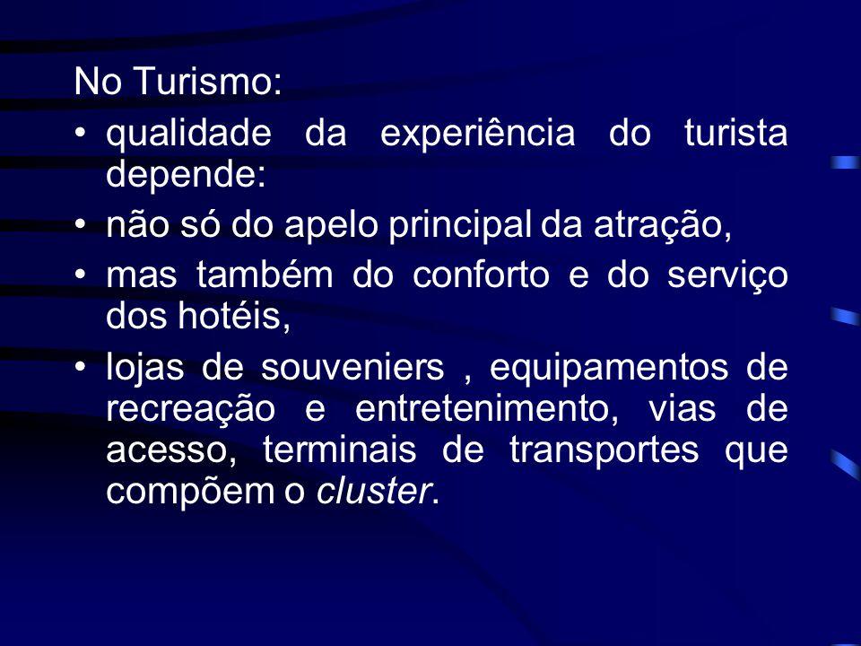 Cluster de Turismo: •conjunto de atrativos com destacado diferencial turístico, concentrado num espaço geográfico delimitado; •dotado de equipamentos e serviços de qualidade; •excelência gerencial, em redes de empresas que possam gerar vantagens estratégicas e competitivas; (Mário Beni)