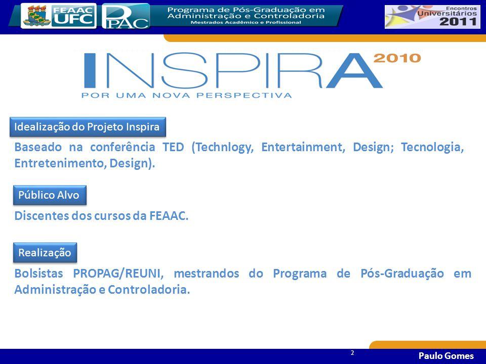 22 2 Paulo Gomes Bolsistas PROPAG/REUNI, mestrandos do Programa de Pós-Graduação em Administração e Controladoria.
