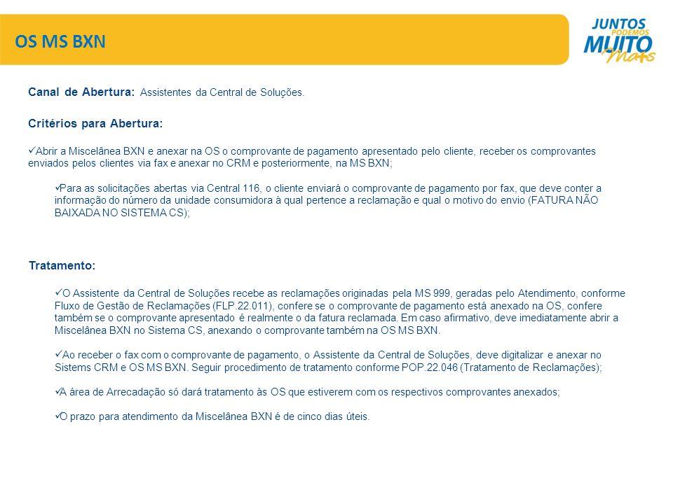 OS MS BXN Canal de Abertura: Assistentes da Central de Soluções. Critérios para Abertura:  Abrir a Miscelânea BXN e anexar na OS o comprovante de pag