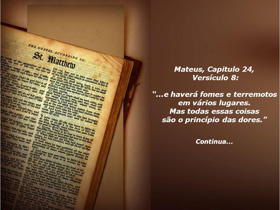 """Mateus, Capitulo 24, Versículo 8: """"...e haverá fomes e terremotos em vários lugares. Mas todas essas coisas são o princípio das dores."""