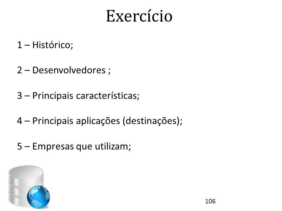 Exercício 1 – Histórico; 2 – Desenvolvedores ; 3 – Principais características; 4 – Principais aplicações (destinações); 5 – Empresas que utilizam; 106