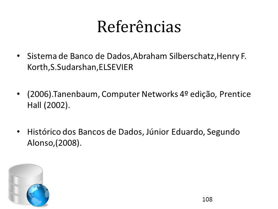 Referências • Sistema de Banco de Dados,Abraham Silberschatz,Henry F. Korth,S.Sudarshan,ELSEVIER • (2006).Tanenbaum, Computer Networks 4º edição, Pren