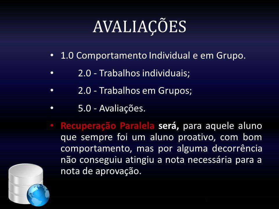 AVALIAÇÕES • 1.0 Comportamento Individual e em Grupo. • 2.0 - Trabalhos individuais; • 2.0 - Trabalhos em Grupos; • 5.0 - Avaliações. • Recuperação Pa