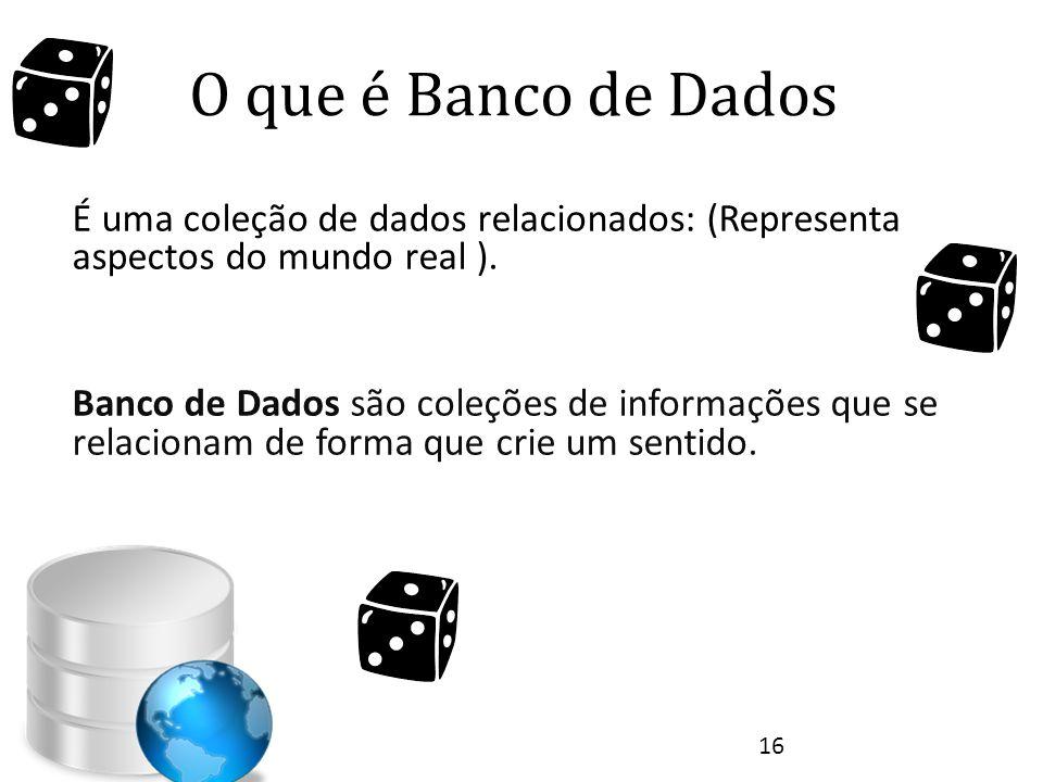 O que é Banco de Dados É uma coleção de dados relacionados: (Representa aspectos do mundo real ). Banco de Dados são coleções de informações que se re