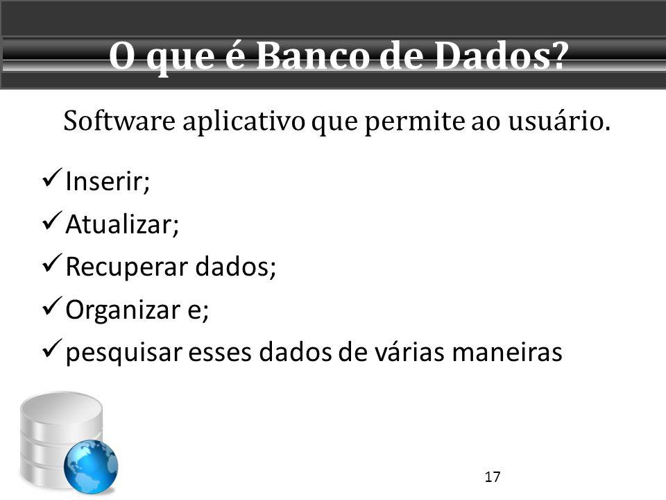 Software aplicativo que permite ao usuário.  Inserir;  Atualizar;  Recuperar dados;  Organizar e;  pesquisar esses dados de várias maneiras O que