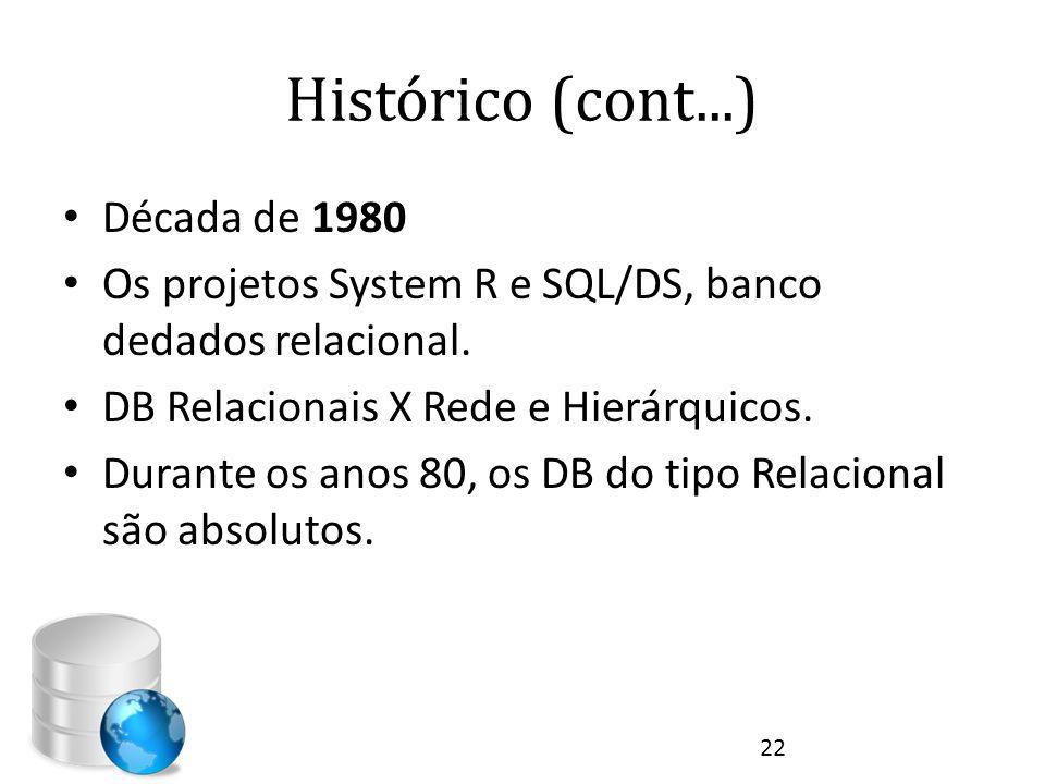 Histórico (cont...) • Década de 1980 • Os projetos System R e SQL/DS, banco dedados relacional. • DB Relacionais X Rede e Hierárquicos. • Durante os a