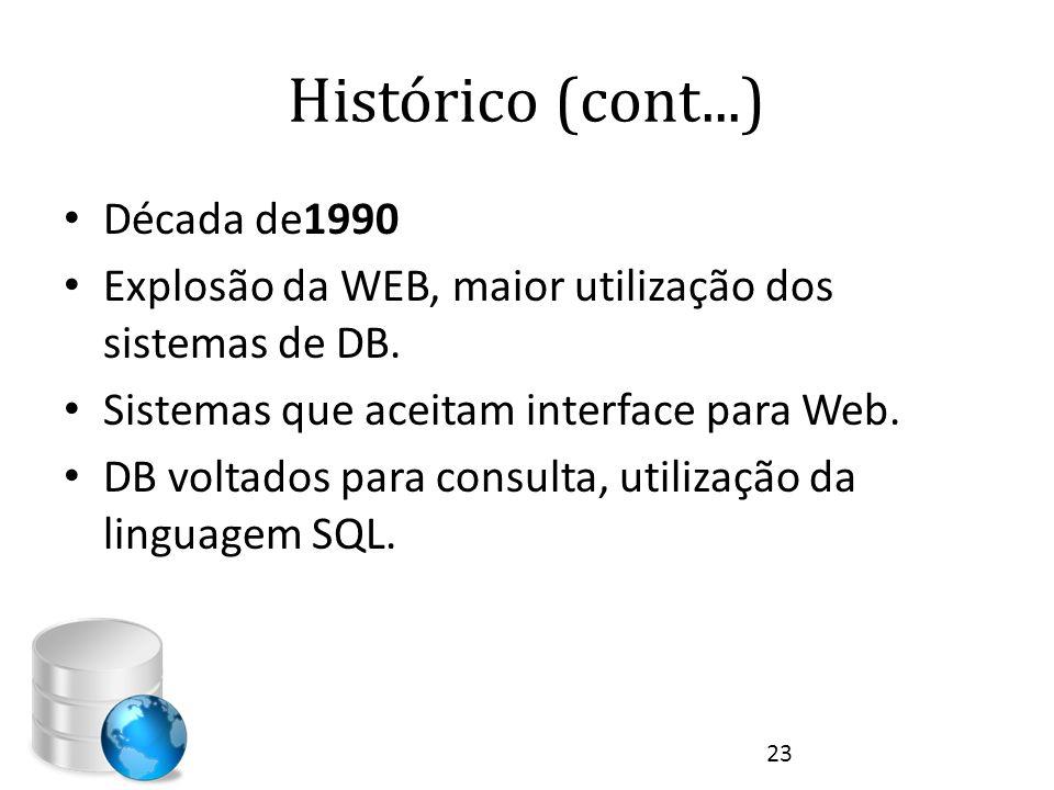 Histórico (cont...) • Década de1990 • Explosão da WEB, maior utilização dos sistemas de DB. • Sistemas que aceitam interface para Web. • DB voltados p
