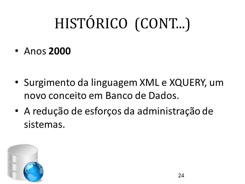 HISTÓRICO (CONT...) • Anos 2000 • Surgimento da linguagem XML e XQUERY, um novo conceito em Banco de Dados. • A redução de esforços da administração d