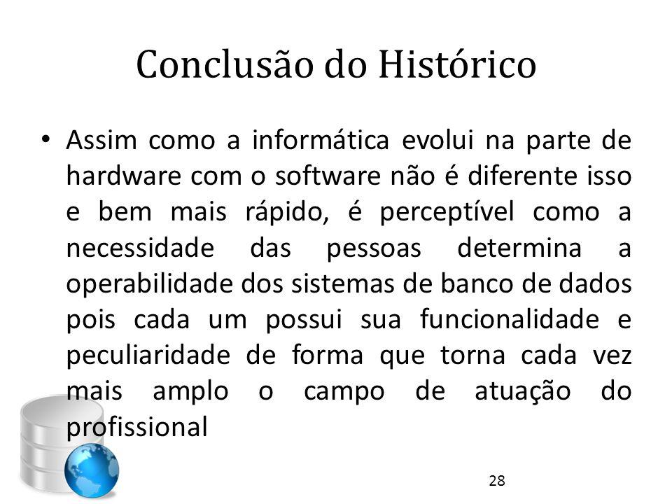 Conclusão do Histórico • Assim como a informática evolui na parte de hardware com o software não é diferente isso e bem mais rápido, é perceptível com