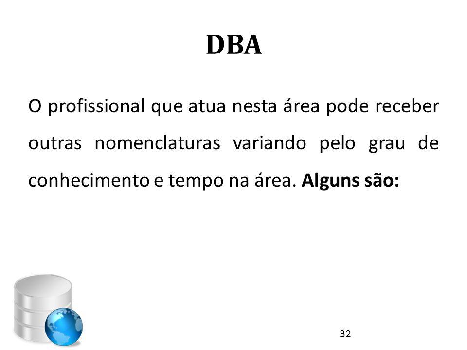 DBA O profissional que atua nesta área pode receber outras nomenclaturas variando pelo grau de conhecimento e tempo na área. Alguns são: 32