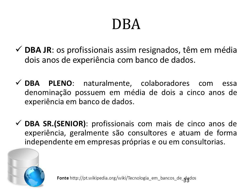 DBA  DBA JR: os profissionais assim resignados, têm em média dois anos de experiência com banco de dados.  DBA PLENO: naturalmente, colaboradores co