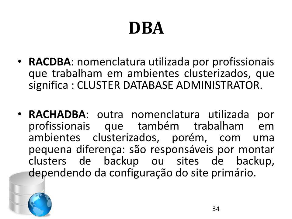 DBA • RACDBA: nomenclatura utilizada por profissionais que trabalham em ambientes clusterizados, que significa : CLUSTER DATABASE ADMINISTRATOR. • RAC