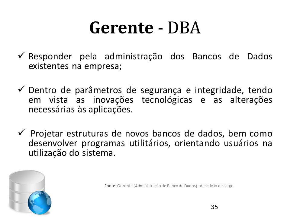 Gerente - DBA  Responder pela administração dos Bancos de Dados existentes na empresa;  Dentro de parâmetros de segurança e integridade, tendo em vi