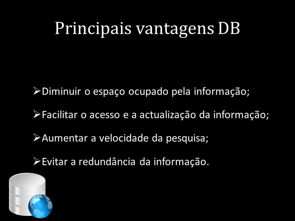 Principais vantagens DB  Diminuir o espaço ocupado pela informação;  Facilitar o acesso e a actualização da informação;  Aumentar a velocidade da p