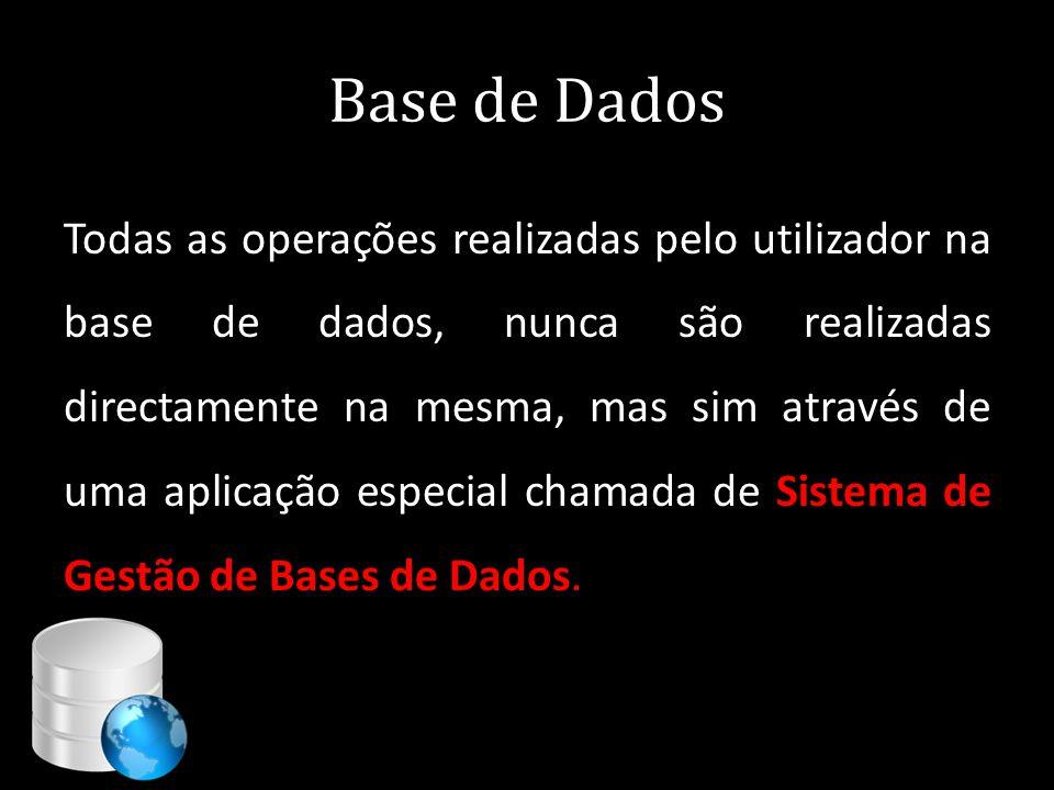 Base de Dados Todas as operações realizadas pelo utilizador na base de dados, nunca são realizadas directamente na mesma, mas sim através de uma aplic