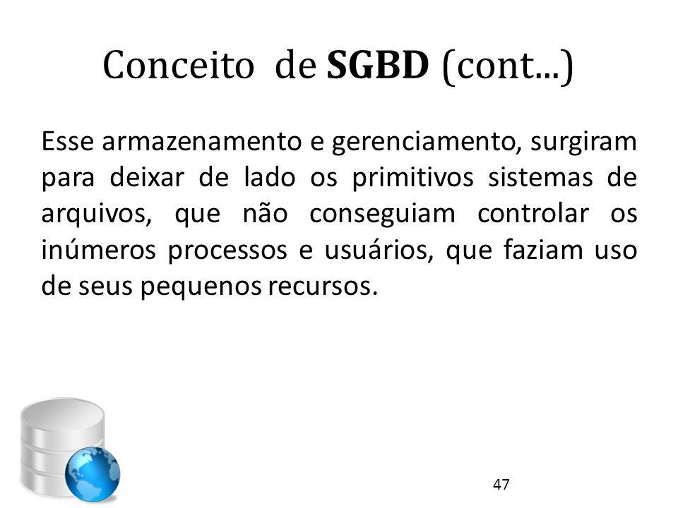 Conceito de SGBD (cont...) Esse armazenamento e gerenciamento, surgiram para deixar de lado os primitivos sistemas de arquivos, que não conseguiam con