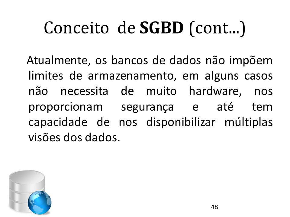 Conceito de SGBD (cont...) Atualmente, os bancos de dados não impõem limites de armazenamento, em alguns casos não necessita de muito hardware, nos pr