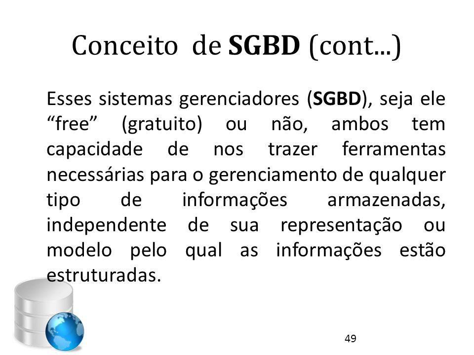 """Conceito de SGBD (cont...) Esses sistemas gerenciadores (SGBD), seja ele """"free"""" (gratuito) ou não, ambos tem capacidade de nos trazer ferramentas nece"""