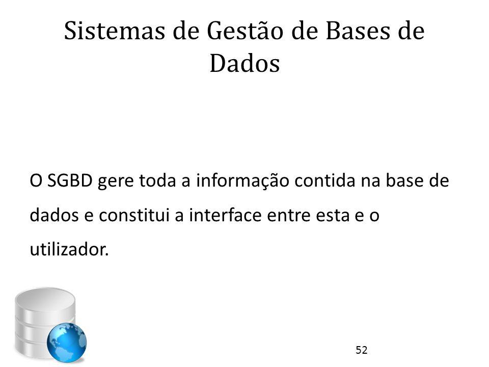 Sistemas de Gestão de Bases de Dados O SGBD gere toda a informação contida na base de dados e constitui a interface entre esta e o utilizador. 52
