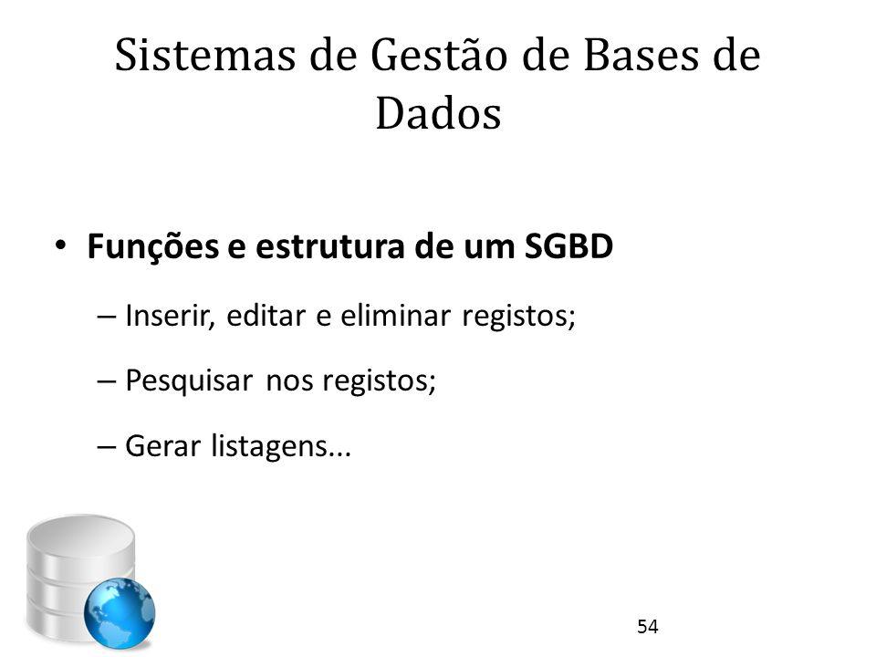 Sistemas de Gestão de Bases de Dados • Funções e estrutura de um SGBD – Inserir, editar e eliminar registos; – Pesquisar nos registos; – Gerar listage