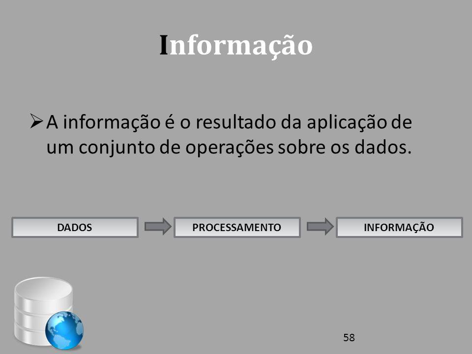 Informação  A informação é o resultado da aplicação de um conjunto de operações sobre os dados. DADOSPROCESSAMENTOINFORMAÇÃO 58