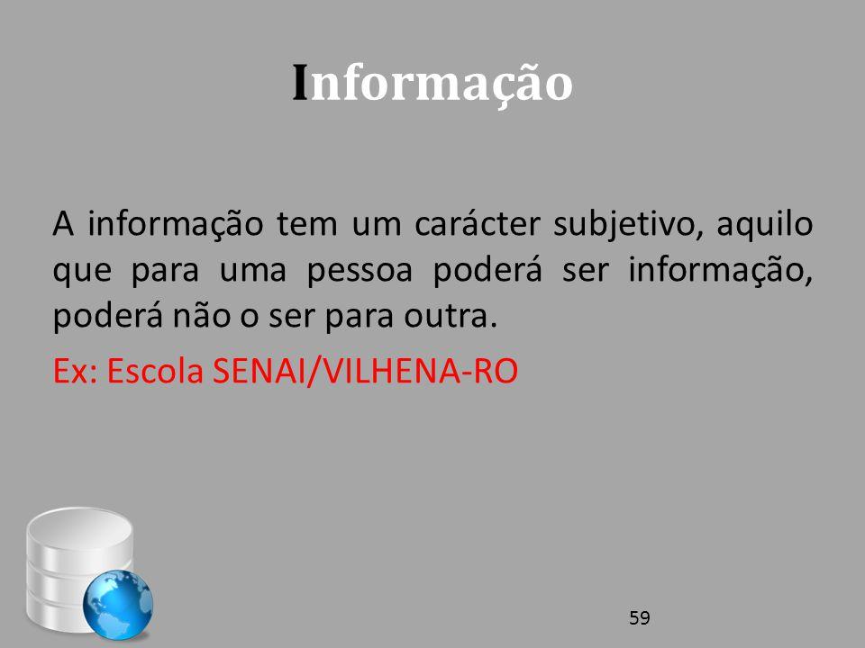 Informação A informação tem um carácter subjetivo, aquilo que para uma pessoa poderá ser informação, poderá não o ser para outra. Ex: Escola SENAI/VIL
