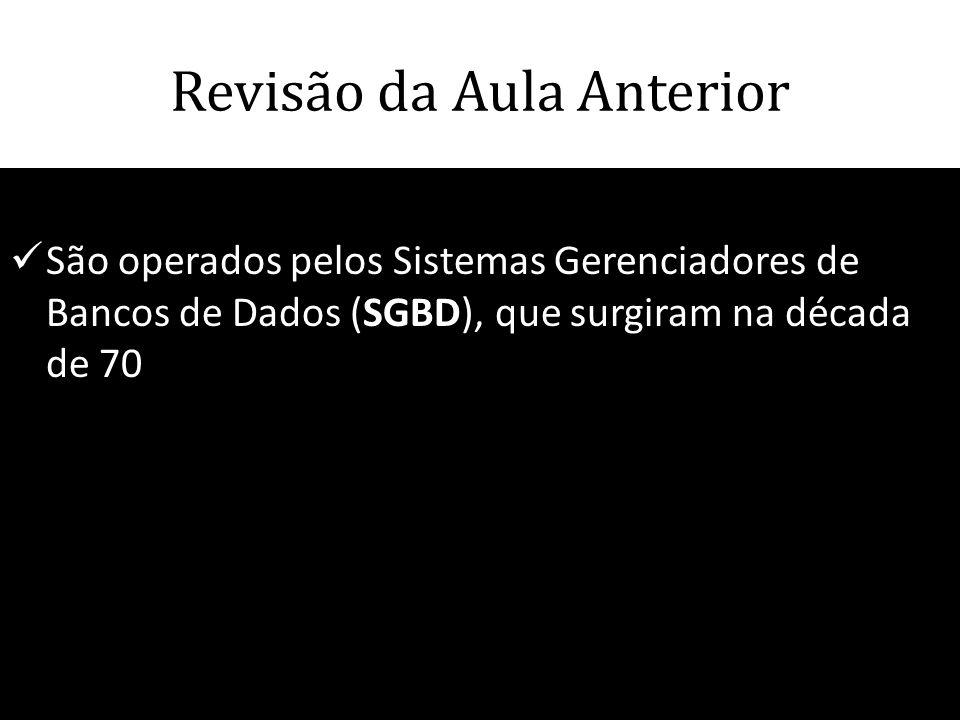 Revisão da Aula Anterior  São operados pelos Sistemas Gerenciadores de Bancos de Dados (SGBD), que surgiram na década de 70 66