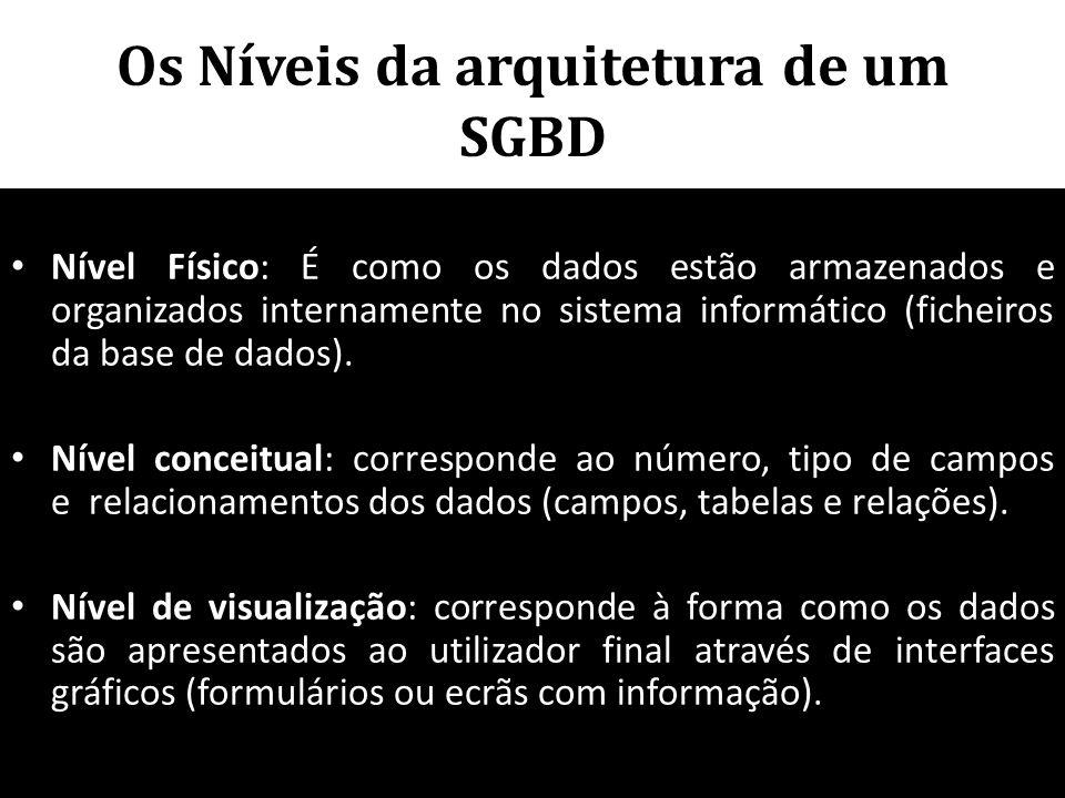 Os Níveis da arquitetura de um SGBD • Nível Físico: É como os dados estão armazenados e organizados internamente no sistema informático (ficheiros da