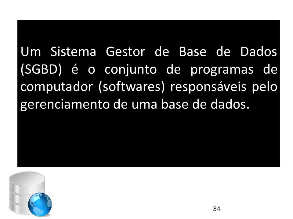 Um Sistema Gestor de Base de Dados (SGBD) é o conjunto de programas de computador (softwares) responsáveis pelo gerenciamento de uma base de dados. 84
