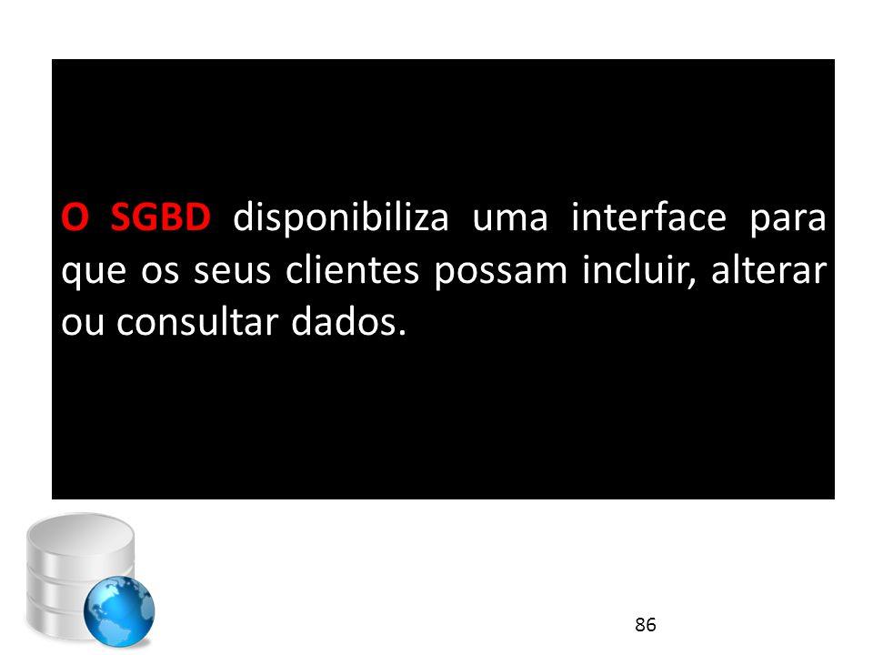 O SGBD disponibiliza uma interface para que os seus clientes possam incluir, alterar ou consultar dados. 86