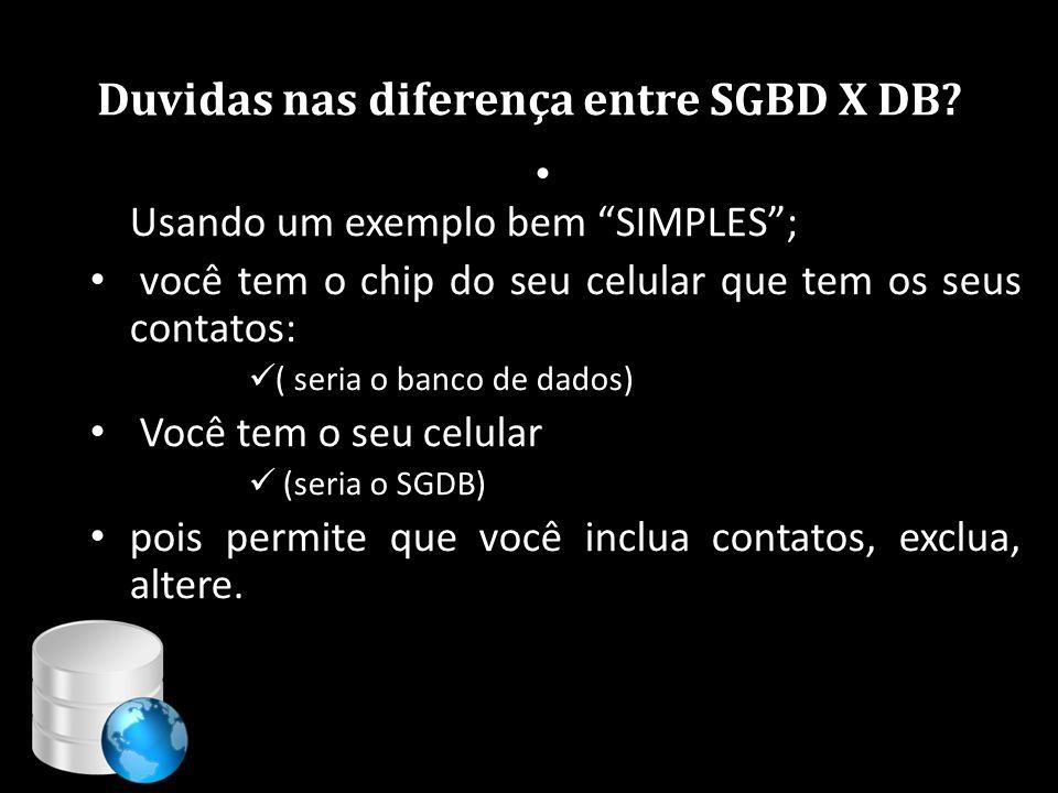 """Duvidas nas diferença entre SGBD X DB? • Usando um exemplo bem """"SIMPLES""""; • você tem o chip do seu celular que tem os seus contatos:  ( seria o banco"""