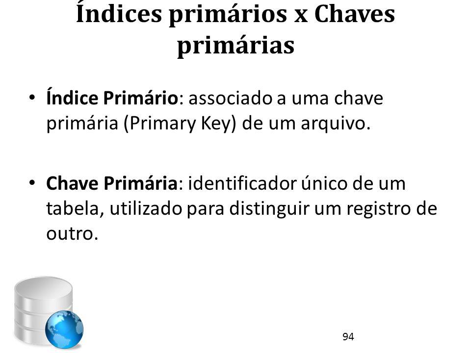 Índices primários x Chaves primárias • Índice Primário: associado a uma chave primária (Primary Key) de um arquivo. • Chave Primária: identificador ún
