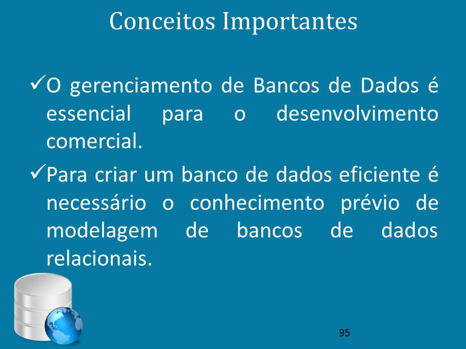 Conceitos Importantes  O gerenciamento de Bancos de Dados é essencial para o desenvolvimento comercial.  Para criar um banco de dados eficiente é ne