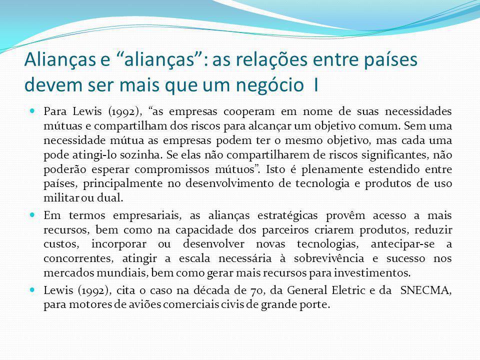 """Alianças e """"alianças"""": as relações entre países devem ser mais que um negócio I  Para Lewis (1992), """"as empresas cooperam em nome de suas necessidade"""