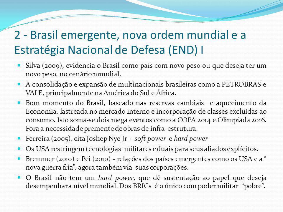 2 - Brasil emergente, nova ordem mundial e a Estratégia Nacional de Defesa (END) I  Silva (2009), evidencia o Brasil como país com novo peso ou que d