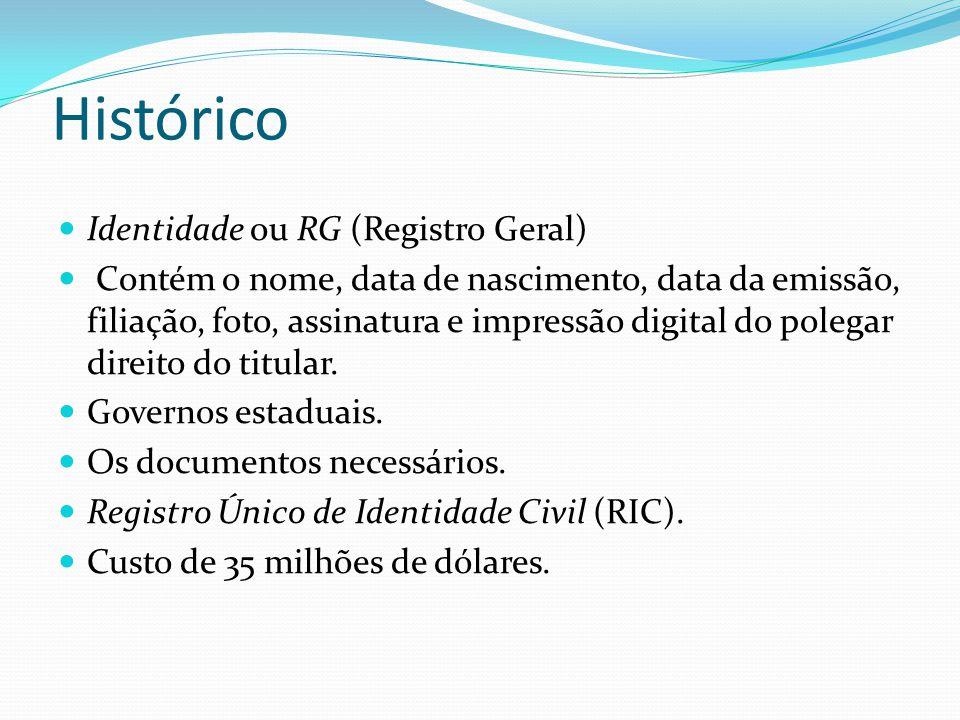 Histórico  Identidade ou RG (Registro Geral)  Contém o nome, data de nascimento, data da emissão, filiação, foto, assinatura e impressão digital do polegar direito do titular.