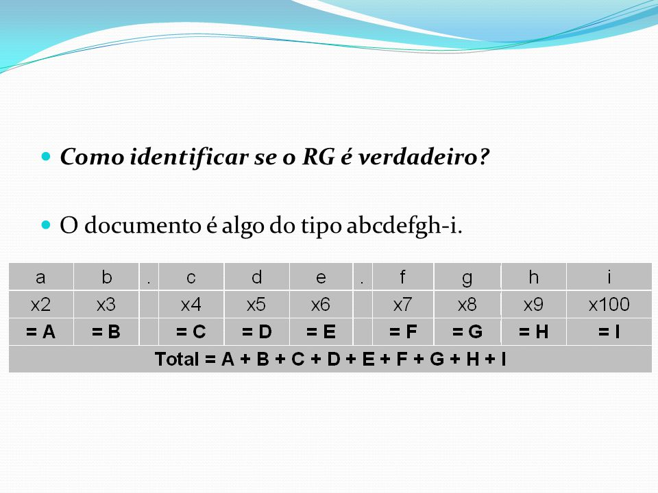  Como identificar se o RG é verdadeiro?  O documento é algo do tipo abcdefgh-i.