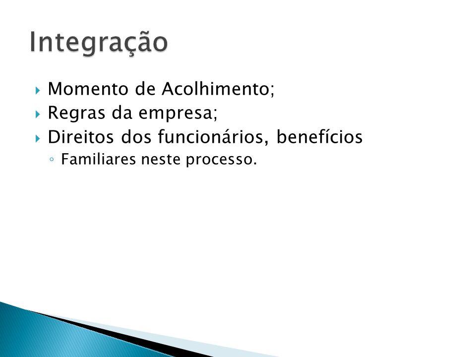  Momento de Acolhimento;  Regras da empresa;  Direitos dos funcionários, benefícios ◦ Familiares neste processo.