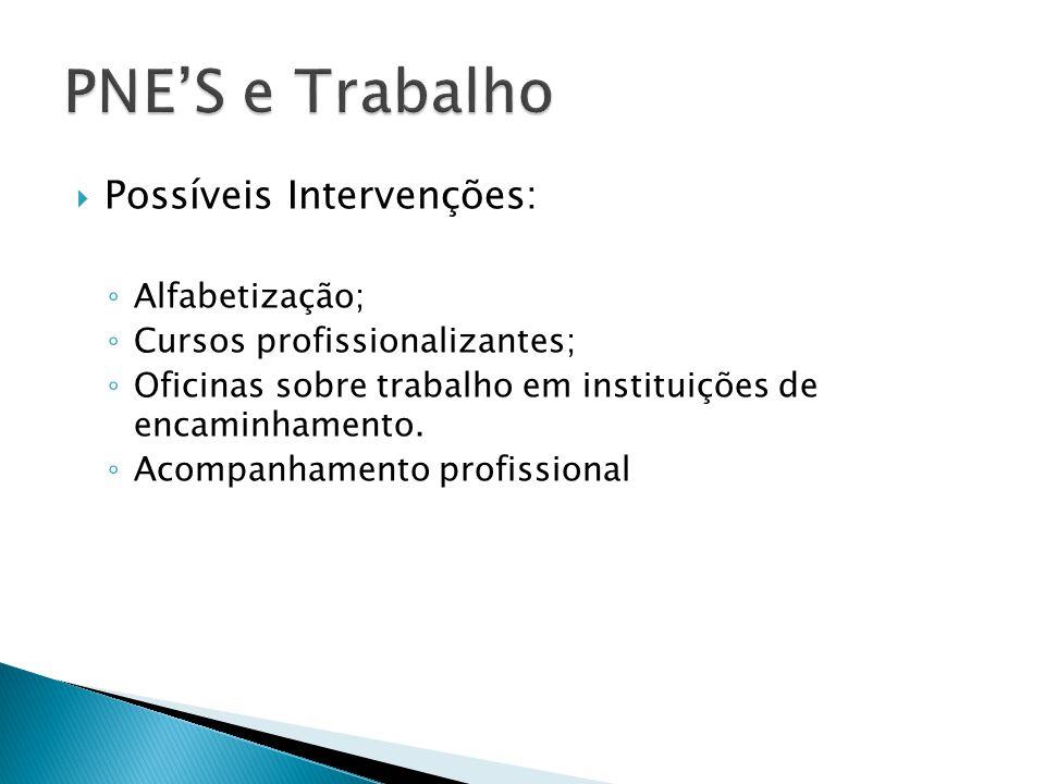  Possíveis Intervenções: ◦ Alfabetização; ◦ Cursos profissionalizantes; ◦ Oficinas sobre trabalho em instituições de encaminhamento. ◦ Acompanhamento