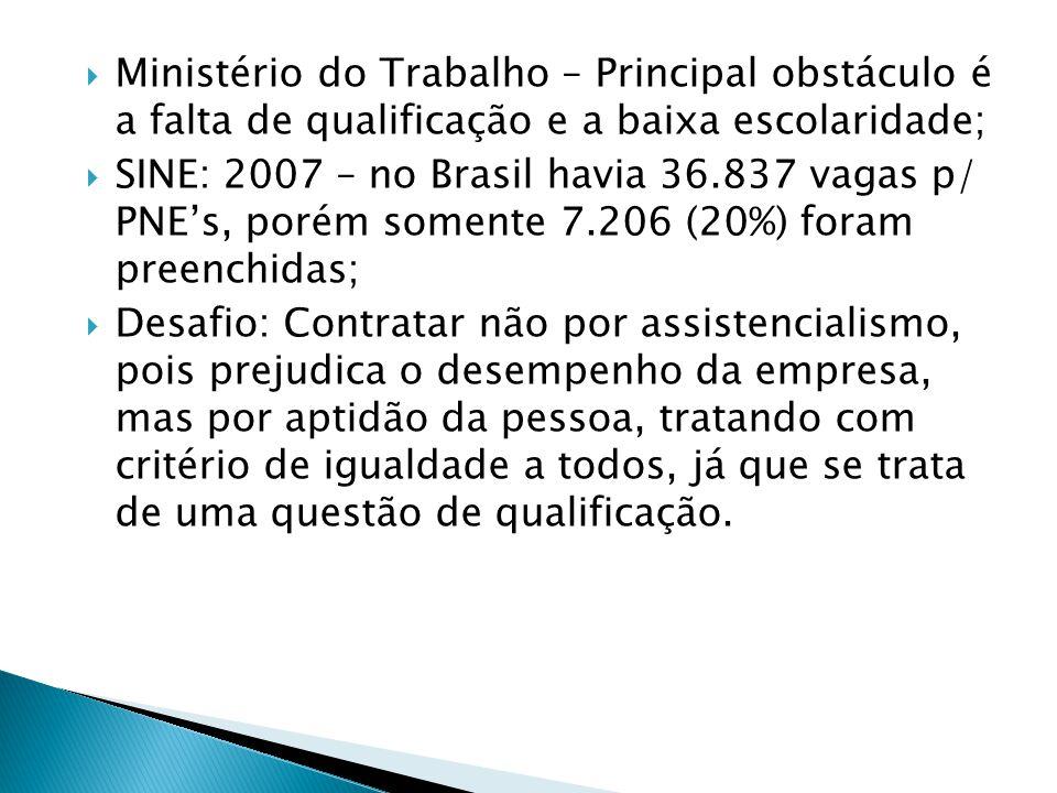  Ministério do Trabalho – Principal obstáculo é a falta de qualificação e a baixa escolaridade;  SINE: 2007 – no Brasil havia 36.837 vagas p/ PNE's,
